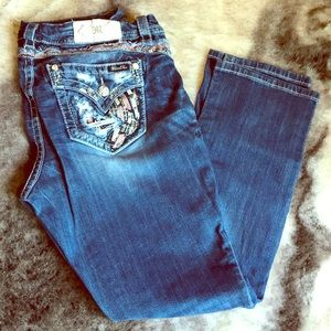 Miss Me brand mid-rise easy straight jeans